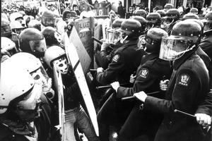 Violence between the police and anti-apartheid protesters accompanied the '81 test. Photo / NZ Herald