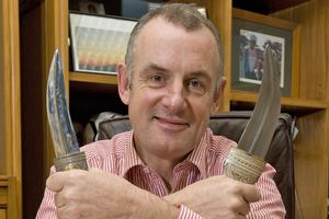 Labour MP Trevor Mallard used to show off his antique daggers - gifts from the Governments of Oman and Saudi Arabia - to add muscle to his negotiating power. Photo / Mark Mitchell