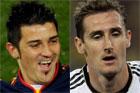 Spanish striker David Villa will be up against Germany's Miroslav Klose. Photos / AP