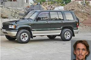 Glen Michael MacDonald, inset, is believed to be driving an Isuzu Bighorn like this one. Photos / Supplied