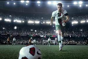 Golden boy Cristiano Ronaldo prepares to take a free kick in the Nike Football Write The Future advertisement for the FIFA World Cup 2010. Photo / Supplied