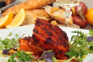 Chermoula-spiced salmon fillet with preserved lemon and watercress. Photo / Janna Dixon