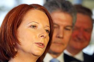 Gillard has made it clear she does not intend to move on the emissions trading scheme sidelined by Rudd. Photo / Getty Images