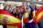 Spanish students celebrate in Queen St. Photo / Natalie Slade