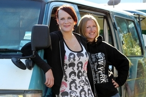 Lucy and Faye Gould are travelling around NZ in a rental van. Photo / Janna Dixon