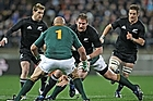 Kieran Read of the All Blacks looks to evade Gurthro Steenkamp of the Springboks. Photo / Getty Images