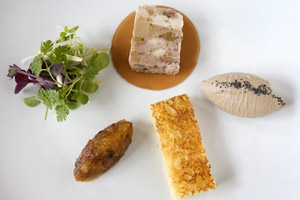Saison's delicious ham hock terrine and duck liver pate entree. Photo / Babiche Martens