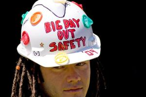 A safety conscious reveller at Big Day Out 2009. Photo / Richard Robinson