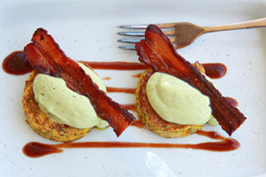 Corncakes, avocado whip and bacon. Photo / Ian Jones