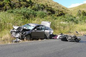 James Aitken of Te Kuiti died and his wife Jaqueline was badly hurt when their motorbike and this car collided. Photo / Youthtown Trust Rescue Helicopter