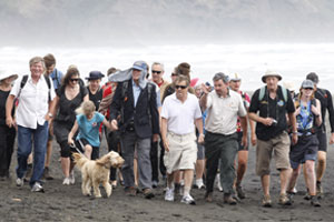 A group walks a section of the Hillary Trail. Photo / Christine Cornege