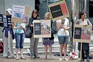 Sea Shepherd supporters protest outside the Japanese Consulate in central Auckland yesterday. Photo / Steven McNicholl