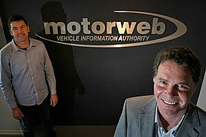 MotorWeb's Chris Knight (left) and Pat Costigan pushed boundaries by packaging motor vehicle registry data as a commercial product. Photo / Steven McNicholl