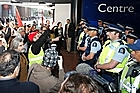 Police block protesters outside the National Party Annual Conference. Photo / NZPA