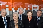 (From left) Jim Bolger, Annette King, Michael Cullen, Helen Clark and Ontrack's Cam Moore launch KiwiRail. Photo / Mark Mitchell
