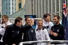 All Whites team members enjoying the moment in downtown Wellington today. Photo / Geoff Hunter