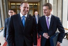 Finance Minister Bill English (R), with Prime Minister John Key. Photo / Mark Mitchell