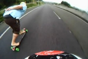 The long-boarders' controversial ride down the Bombay Hills, as seen on YouTube. Photo / Supplied
