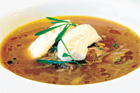 Onion Soup with steamed fish.
