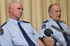 Constable Mitchel Alatalo, left, and Senior Constable Bruce Lamb spoke today about being shot when a routine call-out went wrong. Photo / Simon Baker