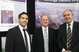 Celebrating the next step towards the proposed Eastern Link in 2009. From left MP for Tauranga Simon Bridges, Western Bay Mayor Ross Paterson and Minister of Transport Steven Joyce. Photo / APN
