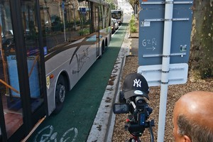 Cameras, signs and markers will be popping up at bus lanes over the next month. Photo / Sarah Ivey