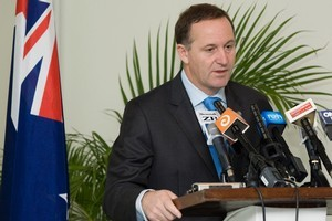 Prime Minister John Key during a press conference at his Port Vila hotel, Vanuatu.  Photo / Mark Mitchell