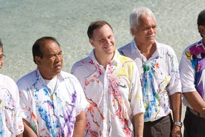 Prime Minister John Key and other Pacific leaders lined-up for their photograph on a beach during their retreat the Havannah Resort in Vanuatu. Photo / Mark Mitchell