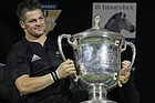 Richie McCaw of the All Blacks holds up the Bledisloe Cup after tonight's 20-10 victory. Photo / Getty Images