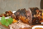Moroccan roast leg of lamb. Photo / Ian Jones