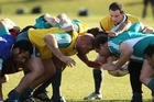 Newly-promoted halfback Alby Mathewson feeds the scrum during the All Blacks training session yesterday at Linwood. Photo / Getty Images