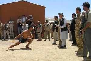 Hamid Karzai visiting the NZ Provincial Reconstruction Team in Bamyam. File photo /NZDF