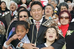 Hone Harawira with his wife Hilda (left), grandchildren (from left) Kahi Harawira and Fetuao Faavae, and his mother, Titewhai Harawira. Photo / Mark Mitchell