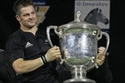 Richie McCaw raises the Bledisloe Cup. Photo / Getty Images