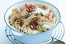 Cheesy leek and pancetta pasta. Photo / Chris Court