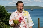 Prime Minister John Key wearing his Vanuatu shirt at the Pacific Islands Forum leaders' retreat at the Havannah Resort. Photo / Mark Mitchell