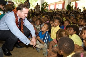 Prime Minister John Key at Freswota Bilingual School in Port Vila yesterday. Photo / Mark Mitchell