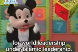 Hamas Mickey Mouse preaching against the US and Israel on a children's show on Palestinian television. Photo / Palestinian Media Watch