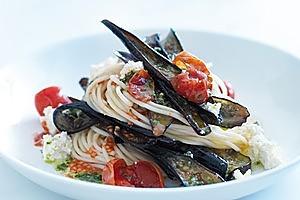 Eggplant, pesto and ricotta pasta. Photo / Chris Court