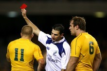 Once referee Craig Joubert decided Drew Mitchell had infringed again, he had no choice but to send him off. Photo / Getty Images