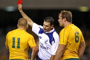 Wallaby Drew Mitchell saw red last weekend against the All Blacks, the 6th card shown in the Tri Nations this year. Photo / Getty Images