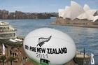 Artist's impression of the giant rugby ball on the Sydney waterfront.