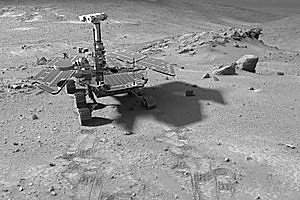A synthetic image of the Spirit Mars Exploration Rover in the 'Columbia Hills'. Photo / NASA