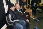 Number one All Black fan Darryl Sabin in the team's changing rooms with best mate Graham Henry. Photo / Supplied