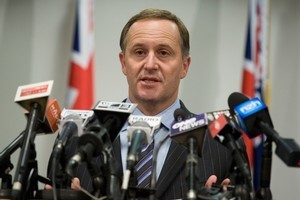 Prime Minister John Key during his post-Cabinet press conference at the Beehive today. Photo / Mark Mitchell