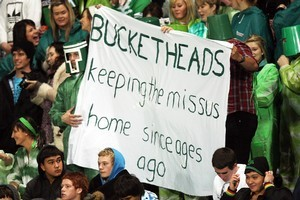 FMG Stadium in Palmerston North is best known for local fans with green buckets on their heads. Photo / Getty Images