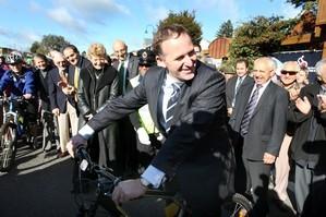 John Key on a cycle at Ohakune at the opening of the cycle trail. Photo / Wanganui Chronicle