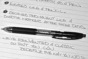 Sharpie's new Liquid Pencil contains liquid graphite. Photo / Supplied