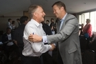 Labour Party Leader Phil Goff (left) is greeted by Deputy leader David Cunliffe. Photo / Paul Estcourt