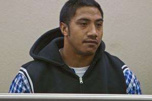 Rangi Roy Pauu appears with Cody Pomare and Lokenitama Filipo for sentencing. Photo / NZPA